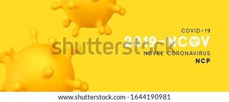 Novel Coronavirus (2019-nCoV). Virus Covid 19-NCP. Coronavirus nCoV denoted is single-stranded RNA virus. Background with realistic 3d yellow virus cells. Horizontal banner, poster, header for website #1644190981