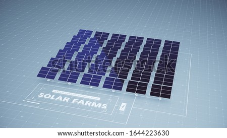 Solar panels as part of a solar farm contribute to harnessing the sun's energy creating electricity and power contributing to green energy production, 3D, 3D artwork, 3D rendering, 3D illustration