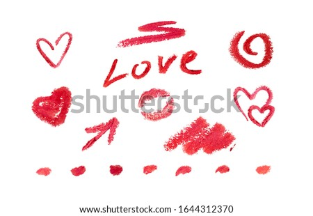 Set love scrap-book elements by red lipstick. Romantic doodle collection for Invitation, greeting card. Valentine day Holiday element template. Bubble message sign icon. Isolated white background. #1644312370