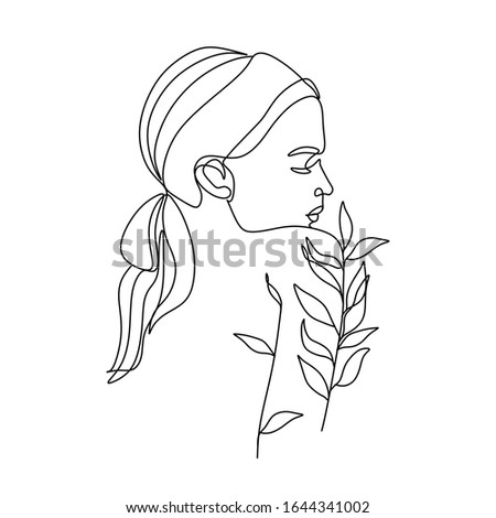 Woman nature line drawing. Girl with leaves vector. Save Nature. Earth Day. Abstract face with flowers by one line vector drawing. Portrait minimalistic style. Botanical print. Nature symbol  #1644341002