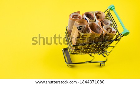The concept of buying currency. Buying Euros. Metal cart with euro banknotes on a yellow background. close up #1644371080