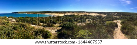 Panoramic picture of the big marley beach and the little marley beach in the Royal National Park in Australia near Sydney. The only way to go is to walk thru the marley trak