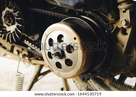 Mechanic to repair or check the motorcycle belt system, the engine belt system of the engine #1644530719