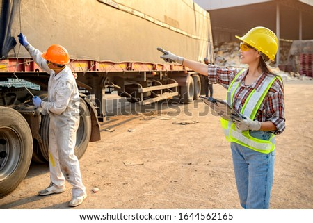 Stock keeper girl Currently using the product tablet Before exporting for sale #1644562165