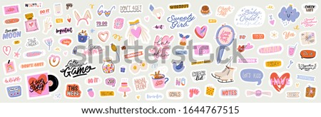 Beautiful love stickers with Valentines day elements and quotes. Romantic cartoon image and trendy lettering. Vector hand drawn flat illustrations, sign, objects for planner and organizer. #1644767515