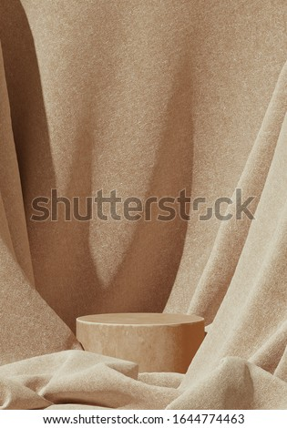 Minimal background for branding and product presentation. Beige color podium on beige fabric background. 3d rendering illustration.