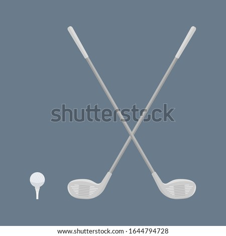 Two crossed Golf clubs, a ball and a Golf stand on a navy background.Sports equipment for golfing. Raster flat illustration
