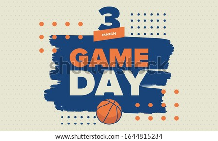 March Basketball Madness. Game Day Party. Professional team championship. Playoff grid, tournament bracket. Regular season and final game. Ball for basketball. Sport poster. Vector illustration
