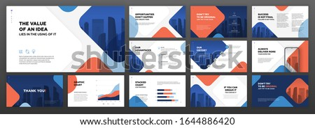 Powerpoint business presentation templates set. Use for modern keynote presentation background, brochure design, website slider, landing page, annual report, company profile, facebook banner. Royalty-Free Stock Photo #1644886420
