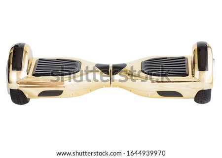 Golden hoverboard isolated on white background.Hover Board, Close Up of Dual Wheel Self Balancing Electric Skateboard Smart Scooter #1644939970