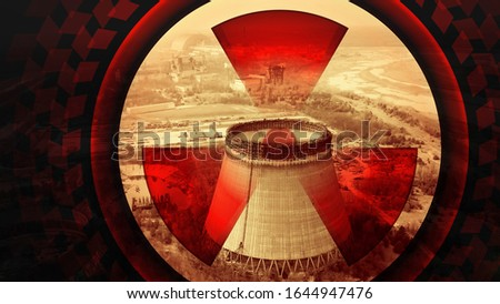 Symbol of radiation on the background of the cooling tower in Chernobyl. Chernobyl zone contaminated with radiation near reactor. Chernobyl disaster. The radiation sign covers the cooling tower dome. #1644947476