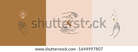 A set of female hand logos in a minimal linear style. Vector logo design Templates with different hand gestures, moon, stars and Crystal. For cosmetics, beauty, tattoo, Spa, manicure, jewelry store #1644997807