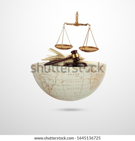 world social justice day, Judge balance with Law book on world, view from above, concept with text World Day of Social Justice, February 20, selected focus, narrow depth of field, social justice Royalty-Free Stock Photo #1645136725