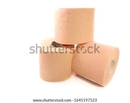 Toilet paper isolated on a white background. The composition of the rolls of toilet paper. Toilet paper with a pattern. Set of toilet paper. #1645197523