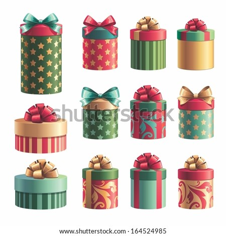 gift boxes design elements set, Christmas isolated clip art