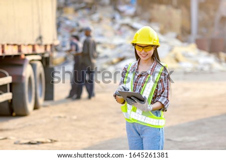 Stock keeper girl Currently using the product tablet Before exporting for sale #1645261381