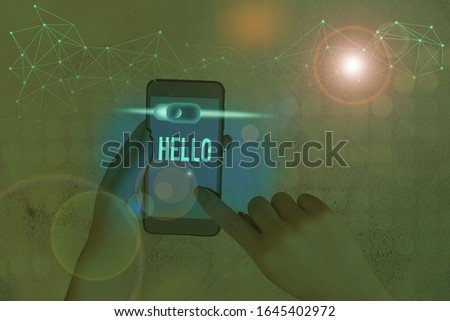 Conceptual hand writing showing Hello. Business photo showcasing used as a greeting or to begin a telephone conversation Greet someone. #1645402972