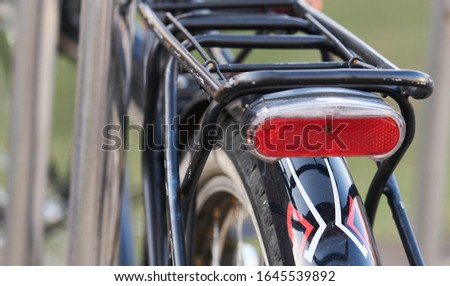 Rear view of bicycle on parking. Royalty-Free Stock Photo #1645539892
