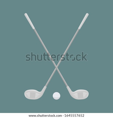 Two beautiful crossed Golf clubs and a ball on the background of aquamarines.Sports equipment for golfing. Inventory for golfers.Raster flat illustration