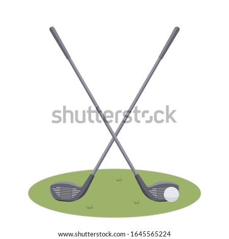 Two beautiful crossed Golf clubs and a ball on cute green grass court isolated on white background.Sports equipment for golfing. Inventory for golfers.Raster flat illustration