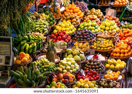 Fresh exotic fruits on famous market in Funchal Mercado dos Lavradores Madeira island, Portugal Royalty-Free Stock Photo #1645635091