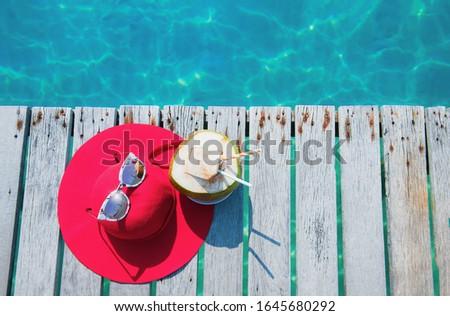 Beach Accessories On Wooden bridge - Summer Holidays. Summer concept at Koh Kood, Trat, Thailand. #1645680292
