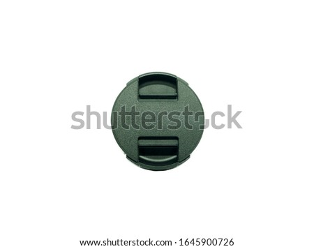 close up of texture circle plastic cap camera lens. it can protect dust or scratch of lens, isolated on white background. #1645900726