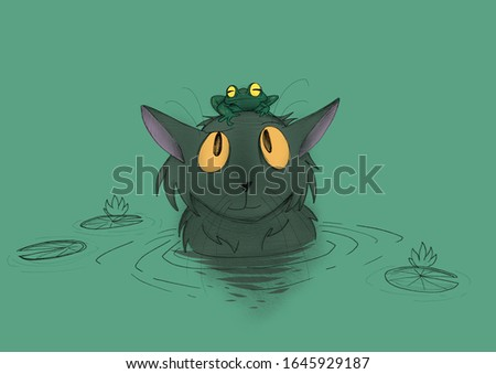 A grey sad cat with a frog on its head is sitting in the water. Green background.