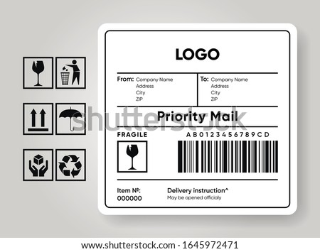 Shipment label template. Cargo sticker. Delivery bar code mockup. Fragile, handle, recycle icon. Information about company recipient. Priority mail with barcode mock up. Vector illustration