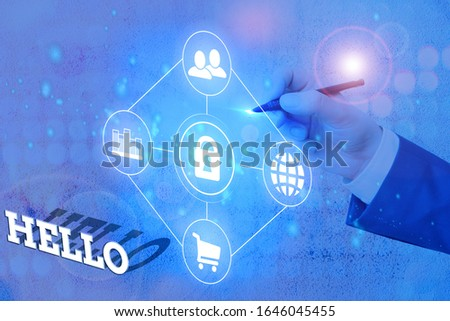 Text sign showing Hello. Conceptual photo used as a greeting or to begin a telephone conversation Greet someone. #1646045455