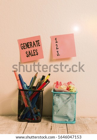 Writing note showing Generate Sales. Business photo showcasing process of making contact and detail with prospective clients Two Pink Sticky Notes on Wall Pencil Pots with Pens and Pencils on Desk. #1646047153