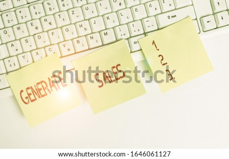 Handwriting text Generate Sales. Concept meaning process of making contact and detail with prospective clients Three empty green square papers by the pc keyboard with copy space. #1646061127