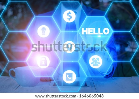 Word writing text Hello. Business concept for used as a greeting or to begin a telephone conversation Greet someone. #1646065048