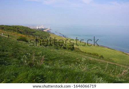Beachy Head is a headland on the south coast of England near the city of Eastbourne in East Sussex. This photo shows the vegetation during our ascent to the top. #1646066719