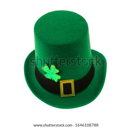 high bowler green and clover symbol of good luck element of a festive costume on an isolated background #1646108788