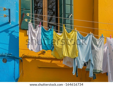 The linen dried outside the windows on Burano island - Venice, Italy #164616734