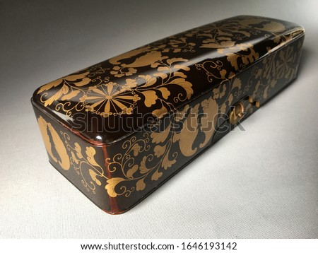 Beautiful antique Japanese Fubako ( Letter box ) Black lacquer ground With leaf and Heraldry in raised gold Hidden box interior with Cloud of dense Nishiji          Meiji period 1868-1912 #1646193142