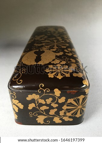 Beautiful antique Japanese Fubako ( Letter box ) Black lacquer ground With leaf and Heraldry in raised gold Hidden box interior with Cloud of dense Nishiji          Meiji period 1868-1912 #1646197399