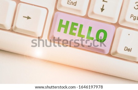 Handwriting text writing Hello. Concept meaning used as a greeting or to begin a telephone conversation Greet someone. #1646197978
