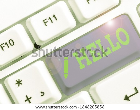 Handwriting text writing Hello. Concept meaning used as a greeting or to begin a telephone conversation Greet someone. #1646205856