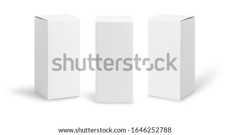 Set of White box tall shape product packaging in side view and front view isolated on white background with clipping path. Royalty-Free Stock Photo #1646252788