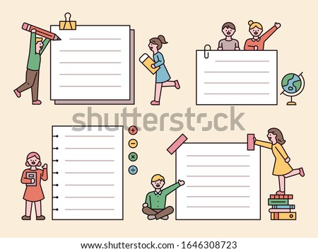 Small people taking notes around large notes. flat design style minimal vector illustration. #1646308723