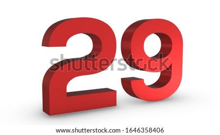 3D Shiny Red Number  Twenty Nine 29 Isolated on White Background.