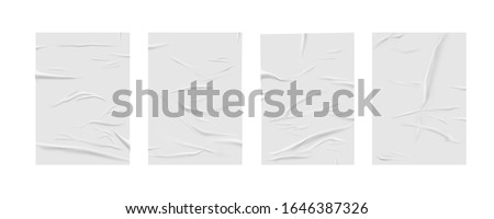 Glued paper wrinkled effect, vector realistic background. Badly wet glued paper or gray adhesive foil with crumpled and greased wrinkles texture, isolated blank templates set #1646387326