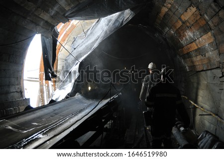 Coal mine, miners in the tunnel. Industry #1646519980