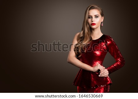 Beautiful Fashion Model, Elegant Woman in Red Sparkling Shiny Dress, Make Up Hairstyle #1646530669