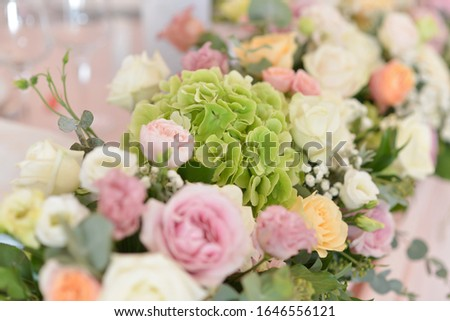 wedding flower arrangements on the table  #1646556121