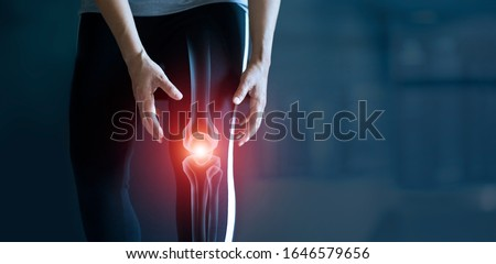 Woman suffering from pain in knee, Injury from workout and osteoarthritis, Tendon problems and Joint inflammation on dark background. #1646579656