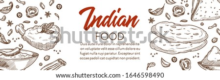 Indian food, cuisine banner. Masoor dal, spicy tandoori chicken, deep fried puri, crispy samosa with savoury filling, thick curry sauce, cinnamon sticks and chili pepper. Hand drawn illustrations. #1646598490
