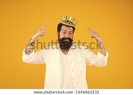 King crown. Love yourself. Holiday carnival celebration. brutal guy prince yellow background. King of party. Egoist selfish man. Superstar concept. Royal status. Sense of self importance. #1646862232